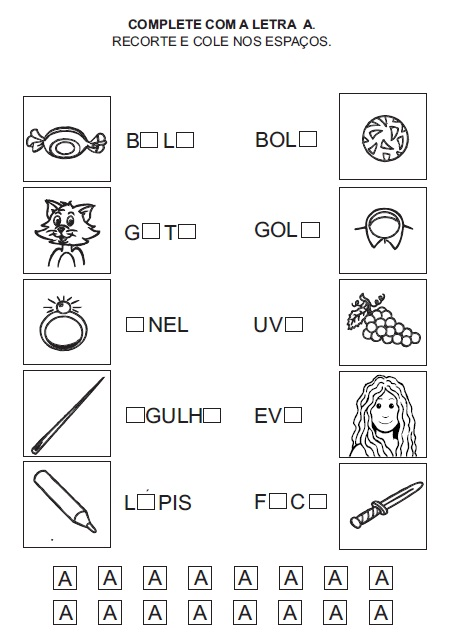 Atividades para Imprimir - Complete a letra que falta