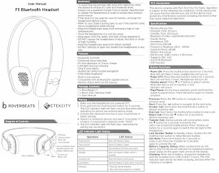 Cuffie bluetooth Etekcity Roverbeats F1, manuale d'uso