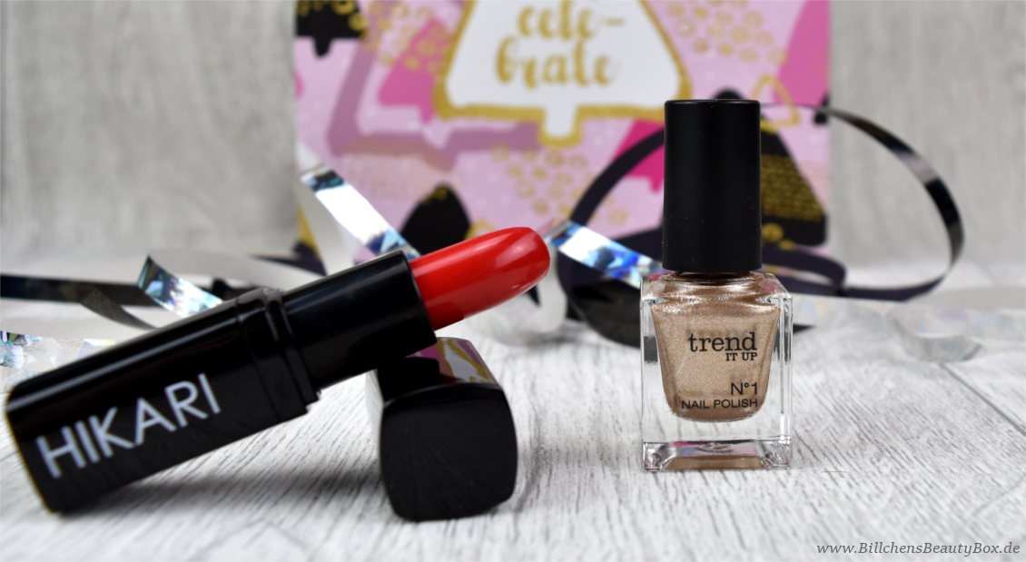 Unboxing & Inhalt - Pink Box - Let's Celebrate - Hikari Cosmetics - Lipstick - trend IT UP - N°1 Nail Polish