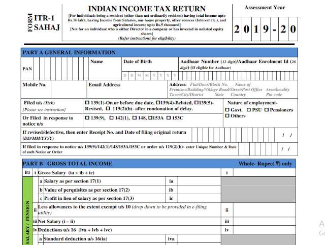 Image result for CBDT Instructions for filing New Income Tax Return Forms (ITR 1 Sahaj, 2, 3, 4 Sugam, 5, 6, 7)