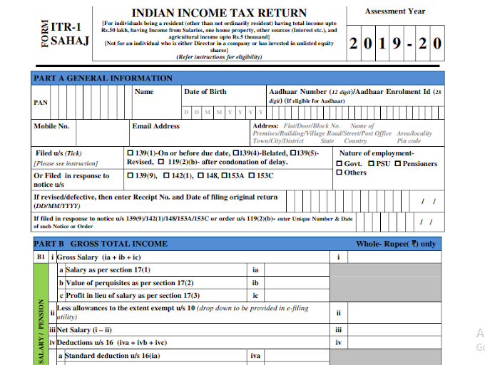 CBDT Instructions for filing New Income Tax Return Forms (ITR 1 Sahaj, 2, 3, 4 Sugam, 5, 6, 7)