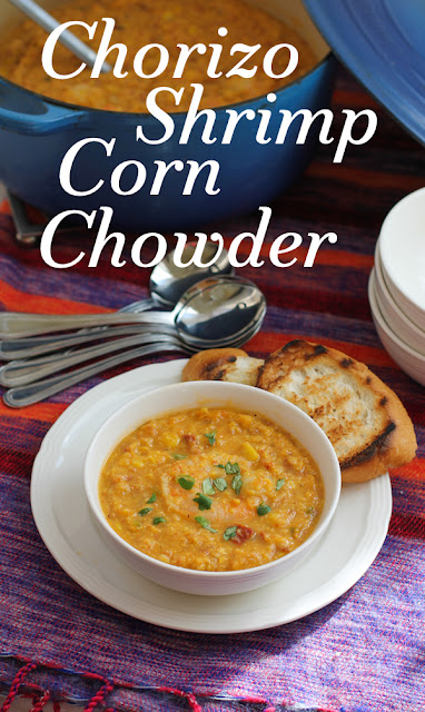 Food Lust People Love: Spicy smoky chorizo and succulent shrimp are the best addition to a creamy corn chowder. Warm yourself up with a steaming bowl of chorizo shrimp corn chowder tonight.