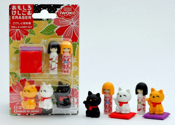 "Tessa loves Iwako Japanese erasers. She's been rather sad that they seem to have gone out of vogue here in the U.S., so I ordered the Doll and Lucky Cat set above from a seller on eBay. It matches two of the books we read pretty well...""Little Oh"" and ""I Am Tama, Lucky Cat."""
