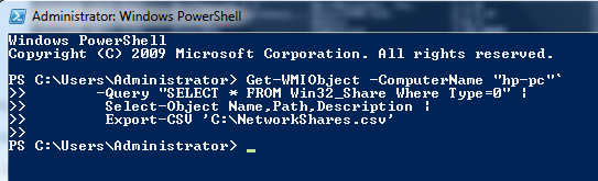 Export Network Shares to CSV file using Powershell script