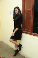 Mounika in a velvet short black dress for Tick Tack Movie Press Meet March 2017 030.JPG