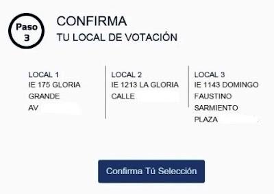 Busca tu centro de votacion confirma tus datos personales