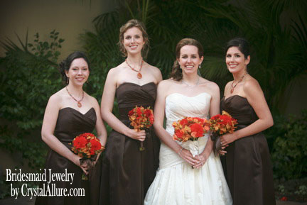 The Bride's Autumn Wedding in Chocolate and Orange | Bridesmaid Jewelry by Crystal Allure