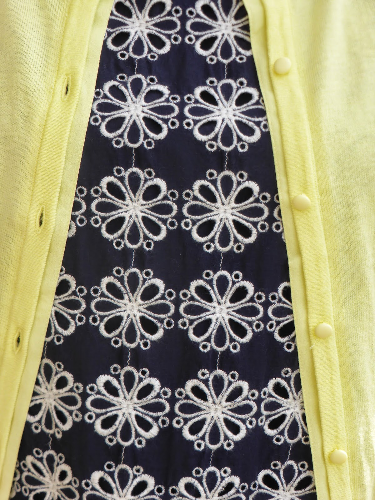 Navy and White Boden broderie top, lemon yellow cardigan. What Lizzy Loves over 40 fashion blogger