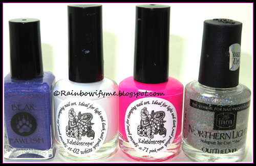 Bear Pawlish: Happy Bearthday Again!; El Corazón stamping polish: White and Pink Neon; Out the Door: Northern Lights.