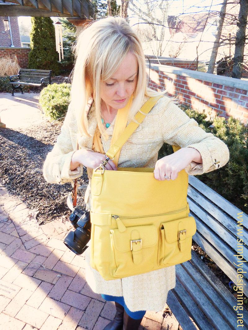 pretty yellow camera bag