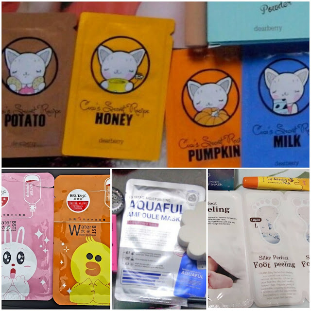 Dearberry Coco's Secret Recipe in Potato, Honey, Pumpkin and Milk, and Aquaful Ampoule Mask, Bisutang Water Best, Calmia Silky Perfect Foot Peeling,  Prreti: Lip Sleeping Mask.