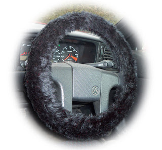 Black fuzzy fluffy steering wheel cover