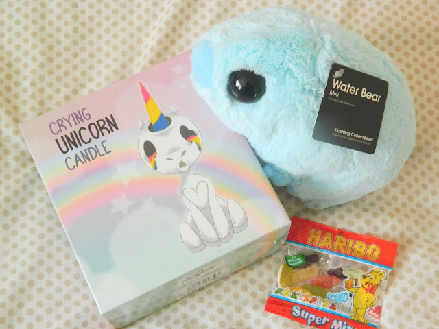 Firebox Haul- Water Bear Plush, Crying Unicorn Candle and some free sweets!