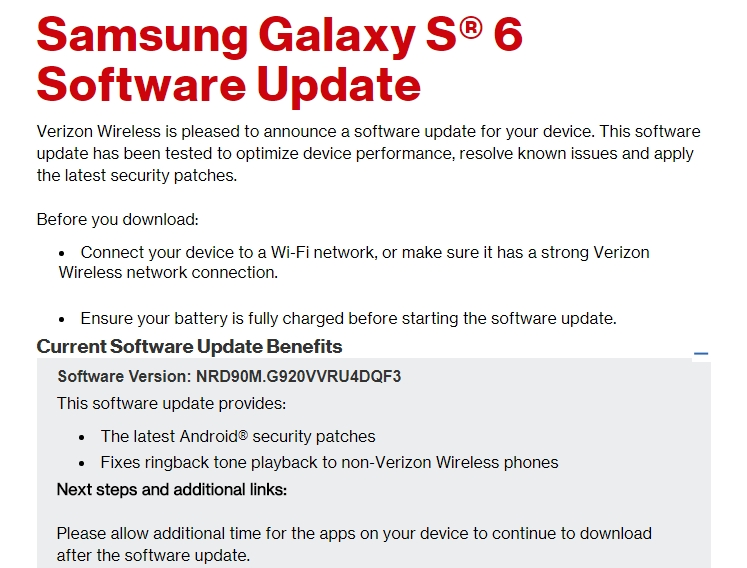 Verizon Galaxy S6 an S6 edge Receiving Updates that fixes