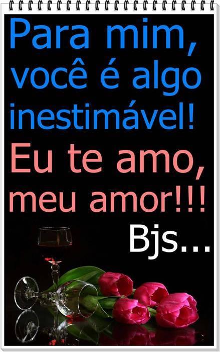 Para mim, você é algo inestimável! Eu te amo, meu amor!!! Beijinhos...