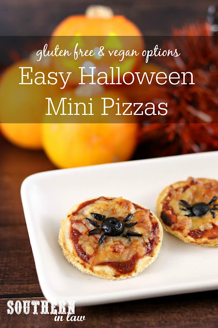 Easy Halloween Mini Spider Pizzas Recipe - healthy halloween recipes, gluten free, vegan, egg free, dairy free, clean eating recipes for halloween