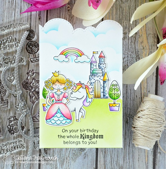 Fairytale Tri-fold Card by Tatiana Trafimovich | Knight's Quest, Believe in Unicorns, and Once Upon a Princess Stamp Sets by Newton's Nook Designs #newtonsnook #handmade