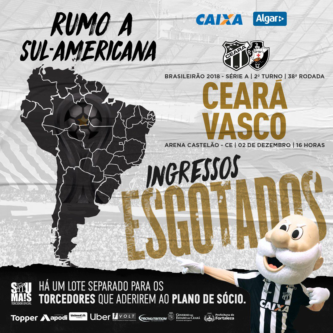 94eac51c9713a Ceará x Vasco neste domingo vale vaga na Sulamericana 2019