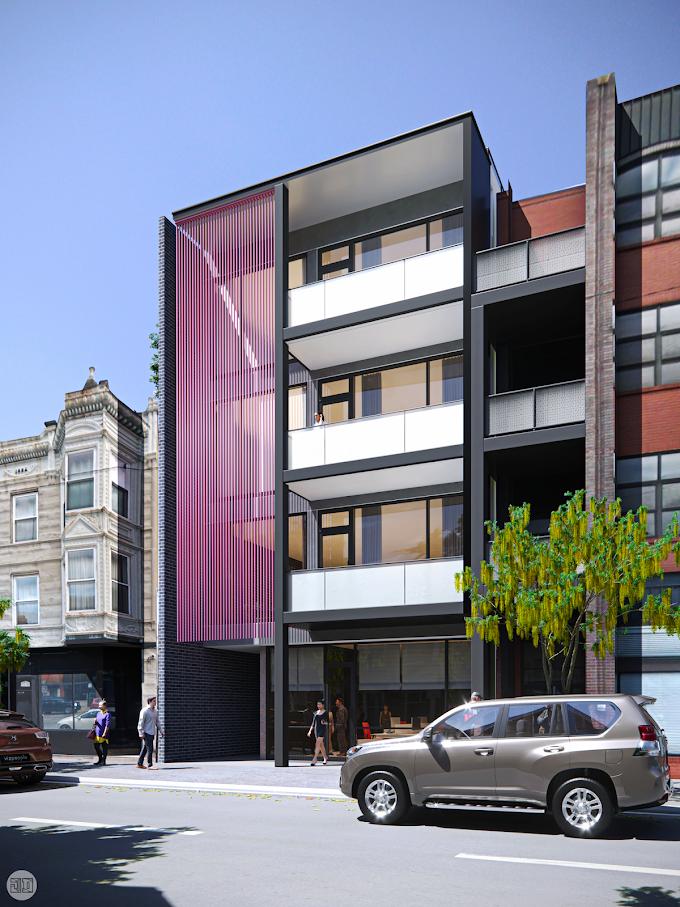 Apartment Facade - Milwaukee Ave., Chicago, IL