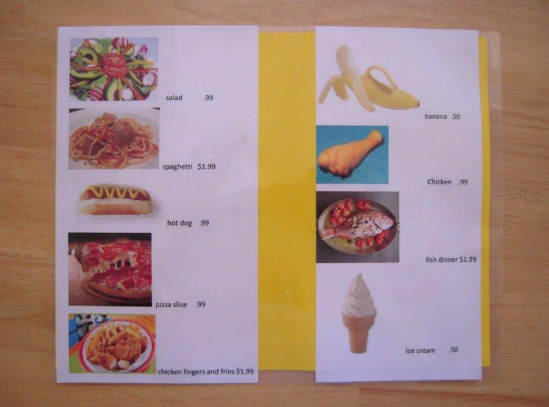 restaurant menus pretend play