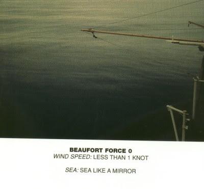 Kecepatan angin di laut dengan skala Beaufort = 0