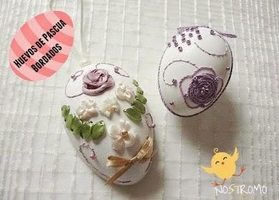 Huevos de Pascua bordados con cintas e hilos