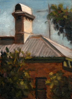 Oil painting of the roof and chimney at the back of a Victorian-era brick building surrounded by trees and shrubs.