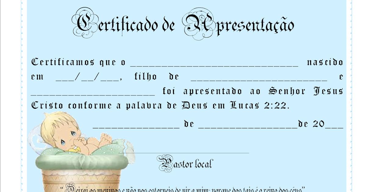 Mensagem De Apresentação De Bebe Na Igreja: Certificado De Apresentação De Bebe Para Editar E Imprimir