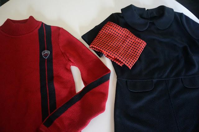 racer mod striped jumper sweater black red polo ralph lauren little black dress 60s mod 1960