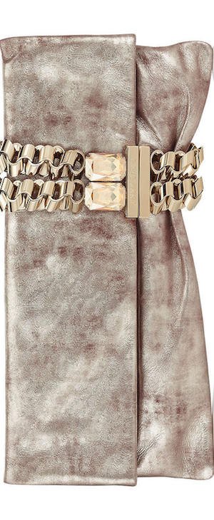 Jimmy Choo Chandra Nude Foil Metallic Suede Clutch Bag