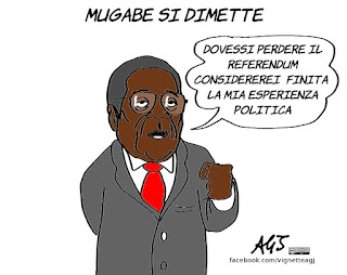 zimbabwe, mugabe, dimissioni, renzi, referendum, vignetta, satira