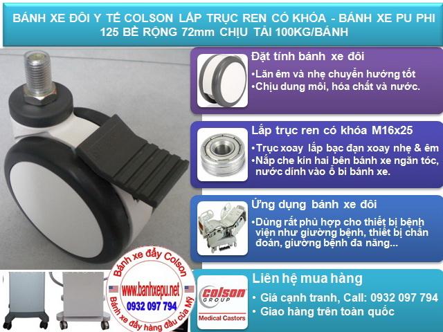 Bánh xe giường bệnh y tế Colson phi 125 có khóa | CPT-5854-85BRK4 www.banxhedayhang.net
