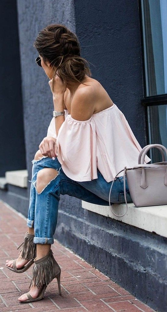 Hello Fashion - Off Shoulder Ruffle Top + Ripped jeans