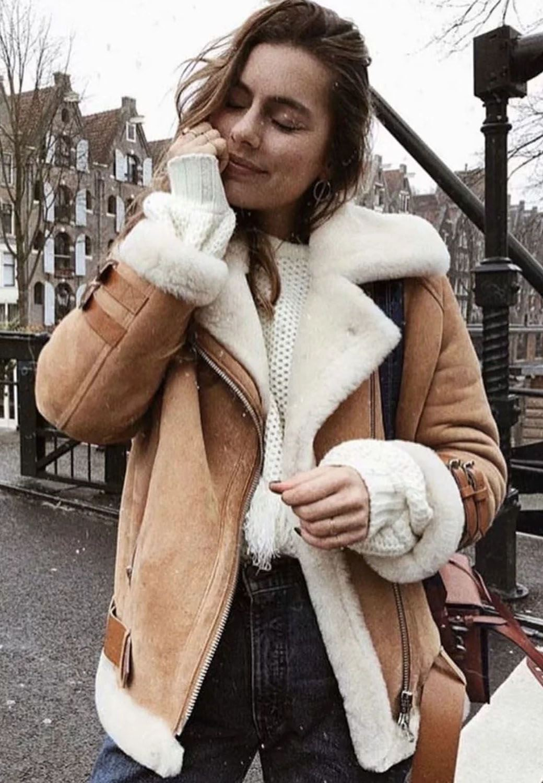 stylish look | leather jacket + white sweater + jeans