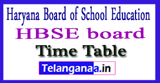 HBSE 10th Exam Time Table 2018