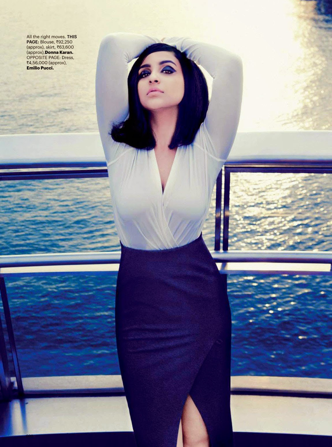 Parineeti Chopra in tight blouse & skirt in Harpers Bazaar India Magazine