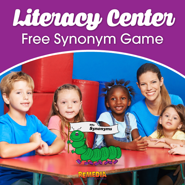 Literacy Center: Silly Synonyms Free Game from Remedia Publications