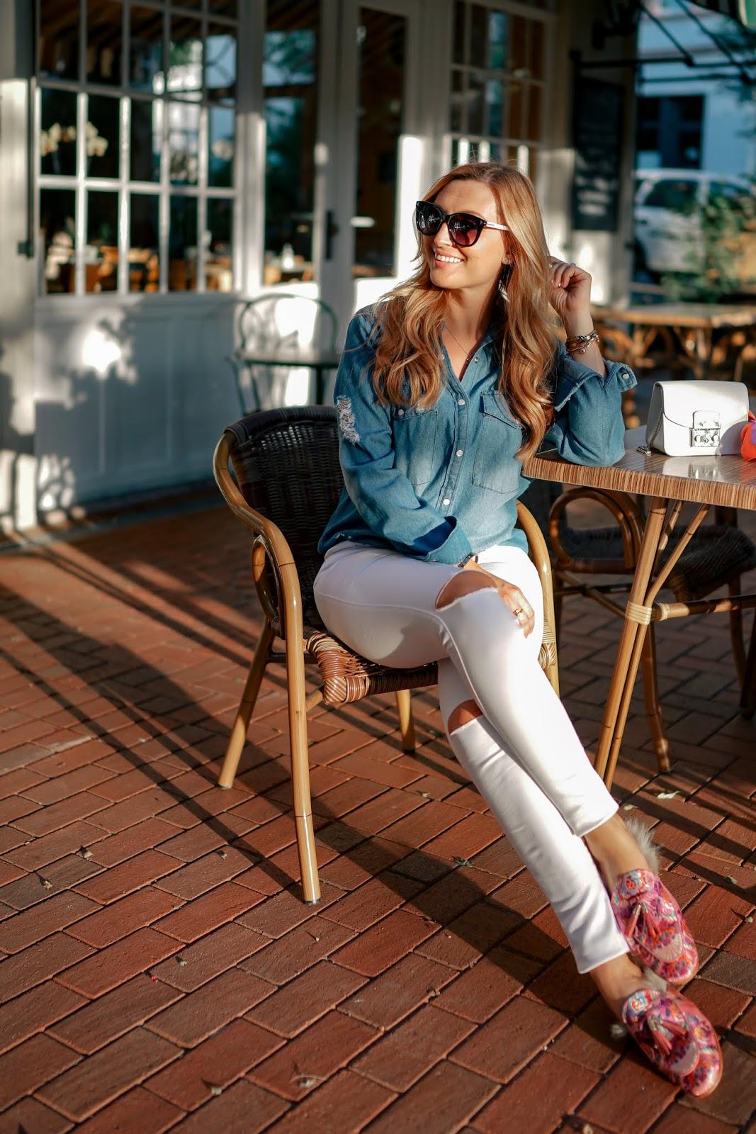 Slipper-Outfitinspiration-Herbst-Look-Jeansbluse-weiße-jeans-pantoletten-melvin-Hamiltion-fashionstylebyjoahanna-fashionblogger-aus-deutschland