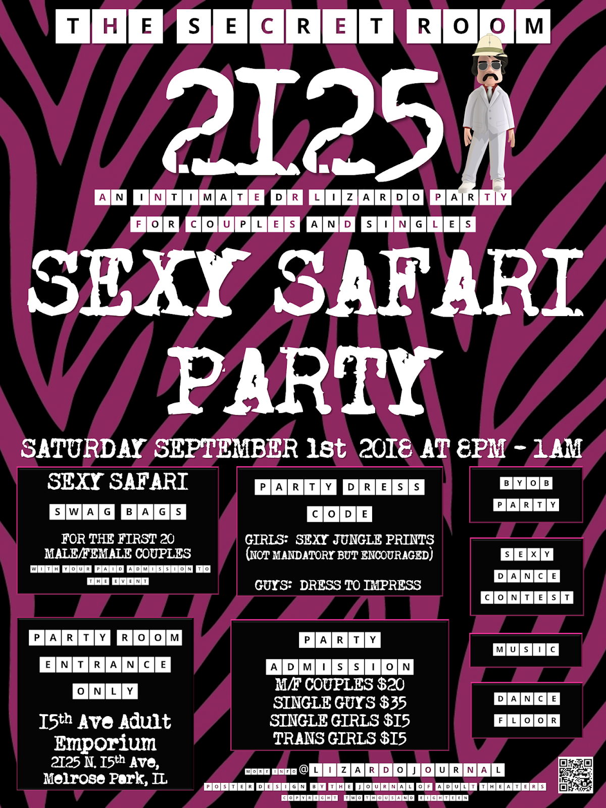 The Secret Room 2125: Sexy Safari Party at 15th Ave. Adult Theater Party Room in Chicago!