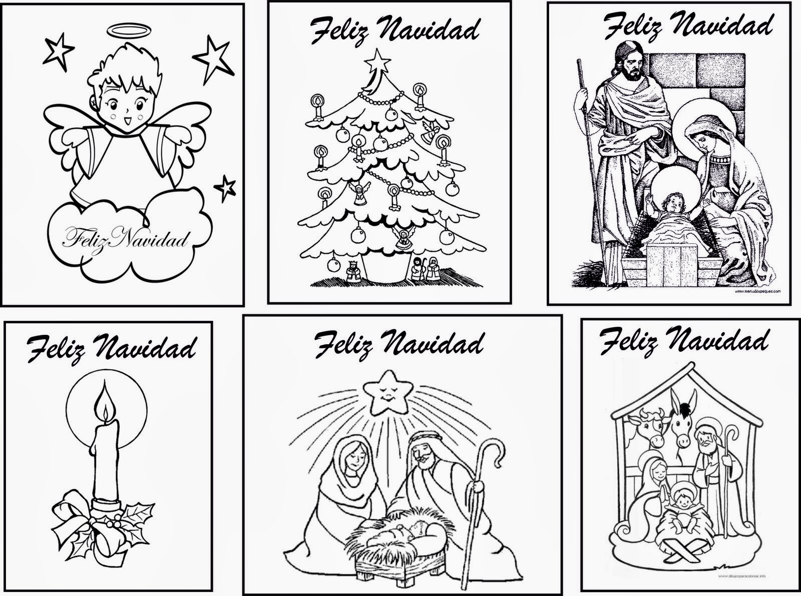 Tarjetas de felicitacion de navidad para imprimir y colorear