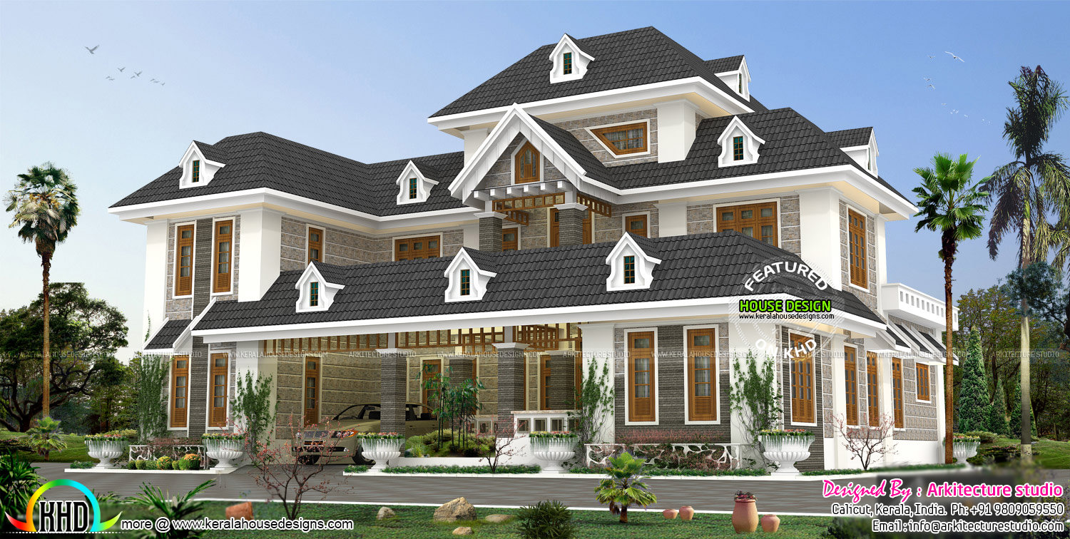 Stylish colonial home with dormer windows kerala home for Colonial style house plans kerala