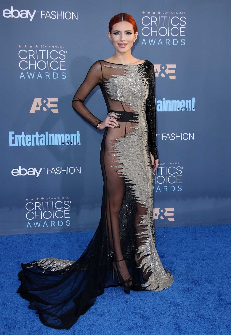 Bella Thorne wears sheer dress without underwear to the 22nd Annual Critics' Choice Awards