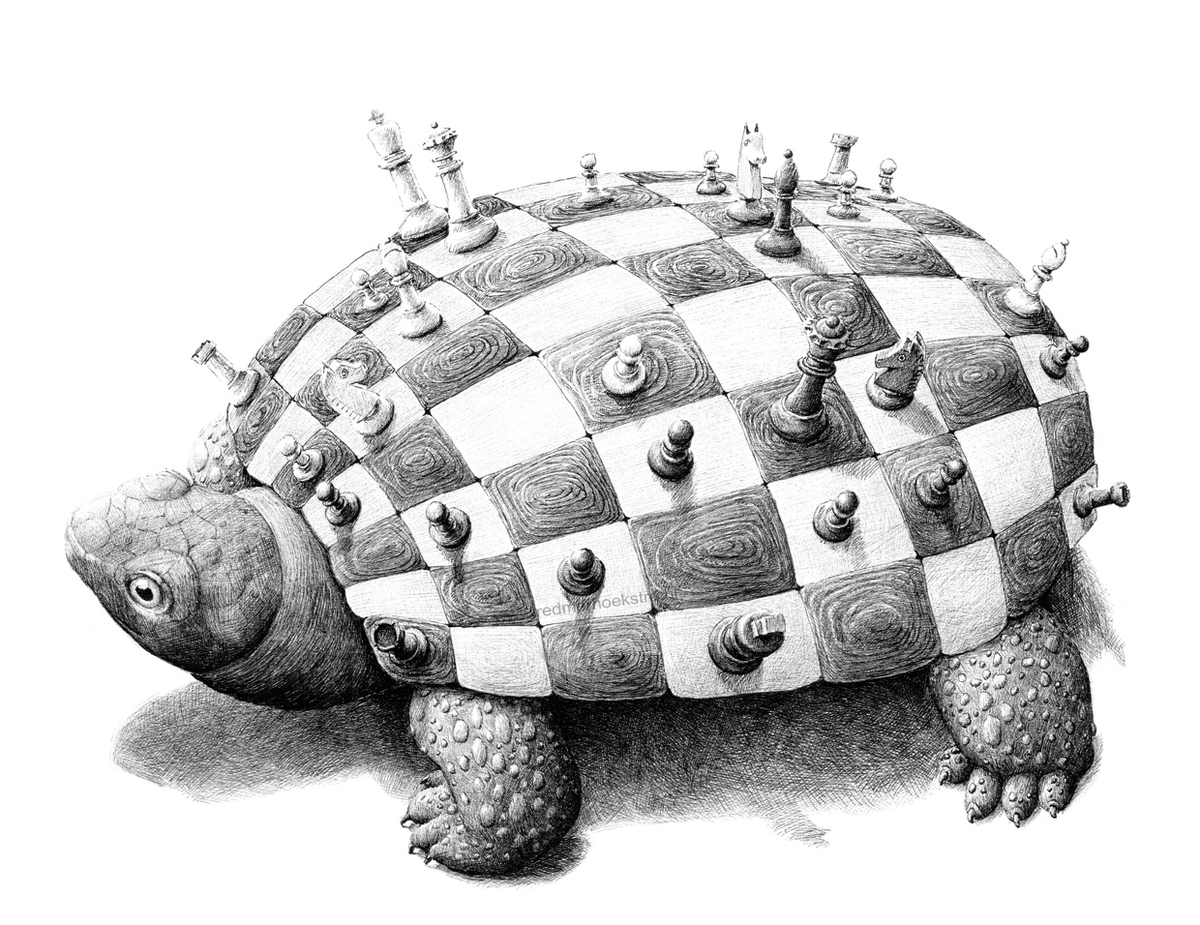 10-Turtle-Chess-Redmer-Hoekstra-Surreal-Animal-Drawings-Pen-on-Paper-www-designstack-co