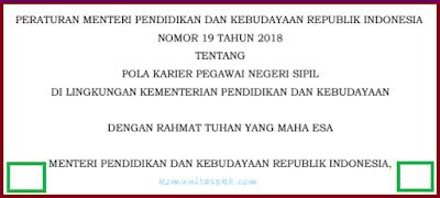 Permendikbud No 19 Tahun 2018 Tentang Pola Karier PNS di Lingkungan Kemdikbud