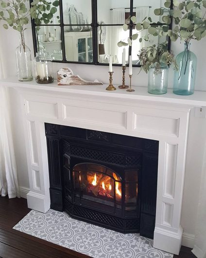 DIY stencil fireplace hearth