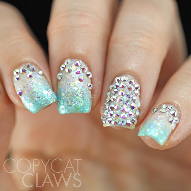 Copycat Claws Blue Color Block Nail Art: Copycat Claws: Swarovski Crystal Nails
