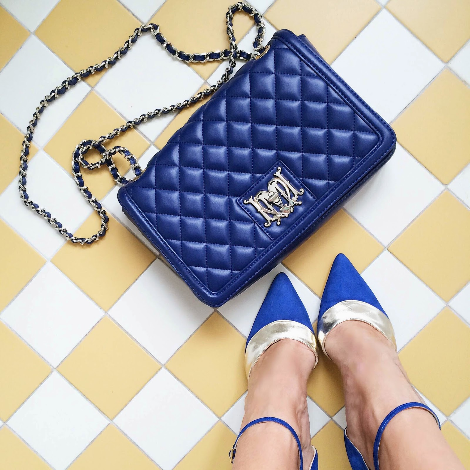 moshcino-blue-quilted-bag-george-j-love-blue-gold-stiletto-heels