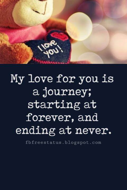 Valentines Day Quotes, My love for you is a journey; starting at forever, and ending at never.
