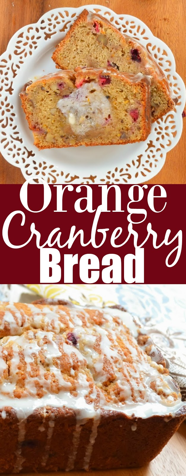 Orange Cranberry Bread with Brown Sugar Crumb and Orange Glaze