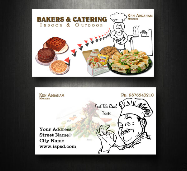 Catering business card psd printriverc for Catering business cards samples